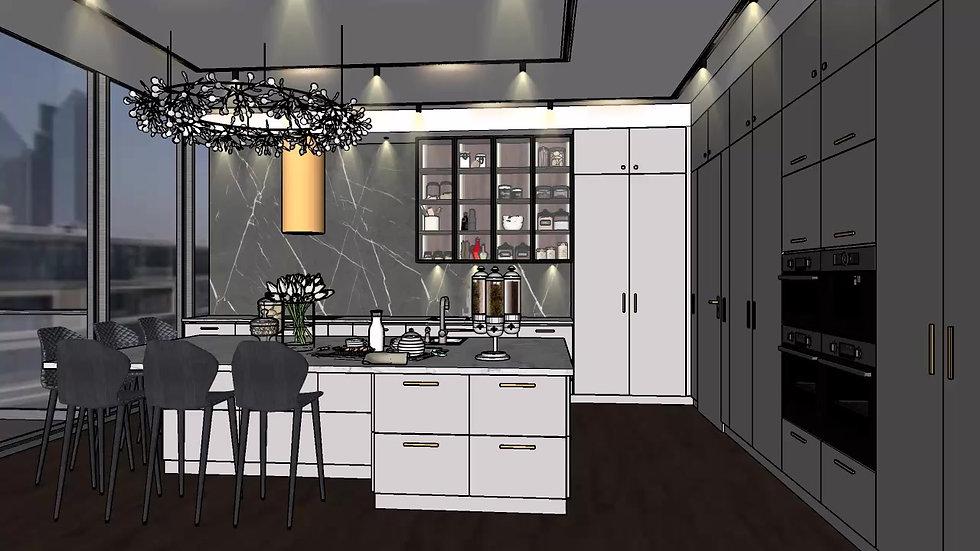 Interior Design Kitchen 3D Walkthrough