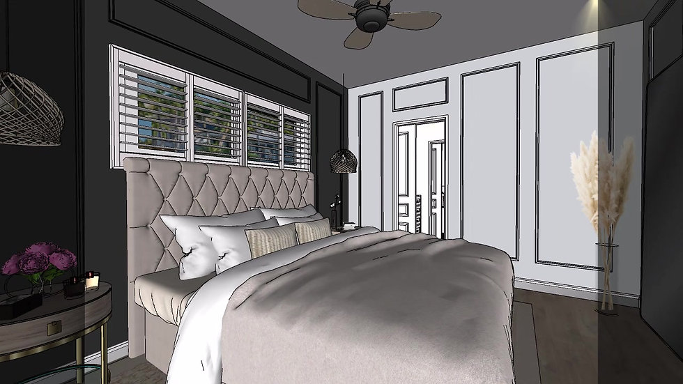 Fort Lauderdale interior design Bedroom suite option 2 Kitchen, living room, Master bedroom, master bathroom e-design