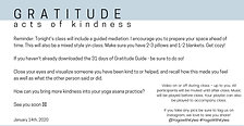 January 14th - Gratitude - Acts of Kindness