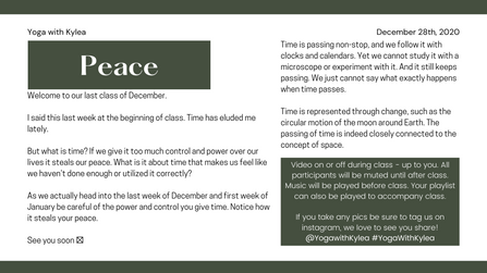December 2020 - Peace