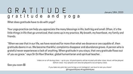 January 18th - Gratitude and Yoga
