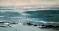 Close up painting Winter at sea South Coast