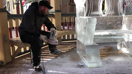 Ice throne carving
