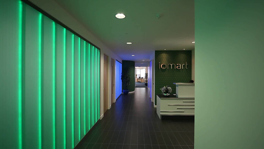 Iomart Offices Reception Area With Illuminated Glass Walls