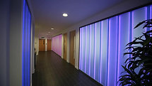 Iomart Offices Corridor With Colour Changing Glass Walls
