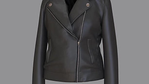 Leather Jacket w Metal Zipper