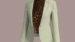 Single-Button jacket w Animal printed linng