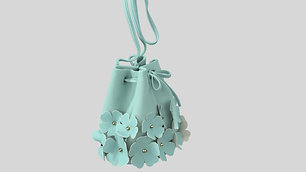 Flowers attached Drawstiring Bag