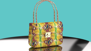 Multi Colored Python Chain Flap Bag