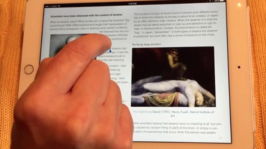 Reading iBooks on iPad