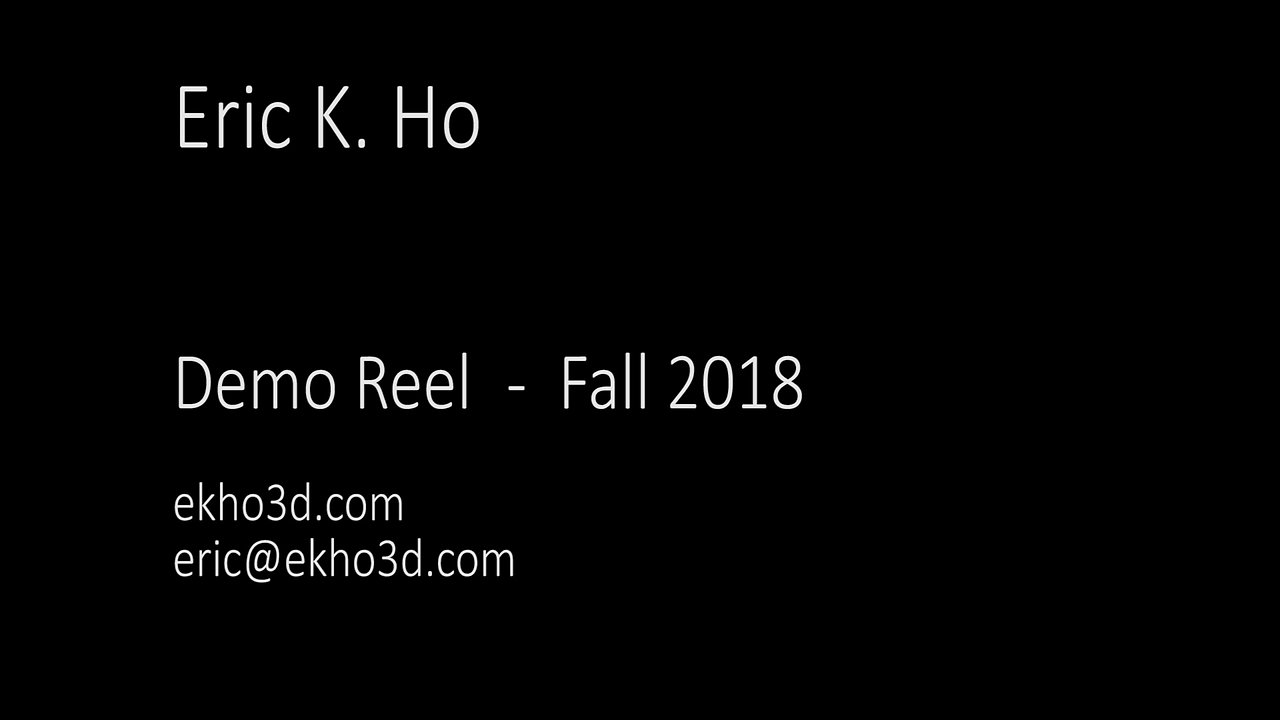 EKHO 3D Demo Reel Fall 2018