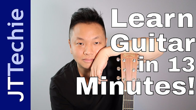 How to Play Guitar in 13 Minutes Beginners Program | Guitar Lesson + Your First 4 Songs - with JTTechie
