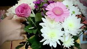 Performing relaxing music on a floral bouquet