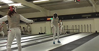 Phoebe fencing another British Junior fencer