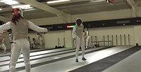 Phoebe fencing another British Junior fencer