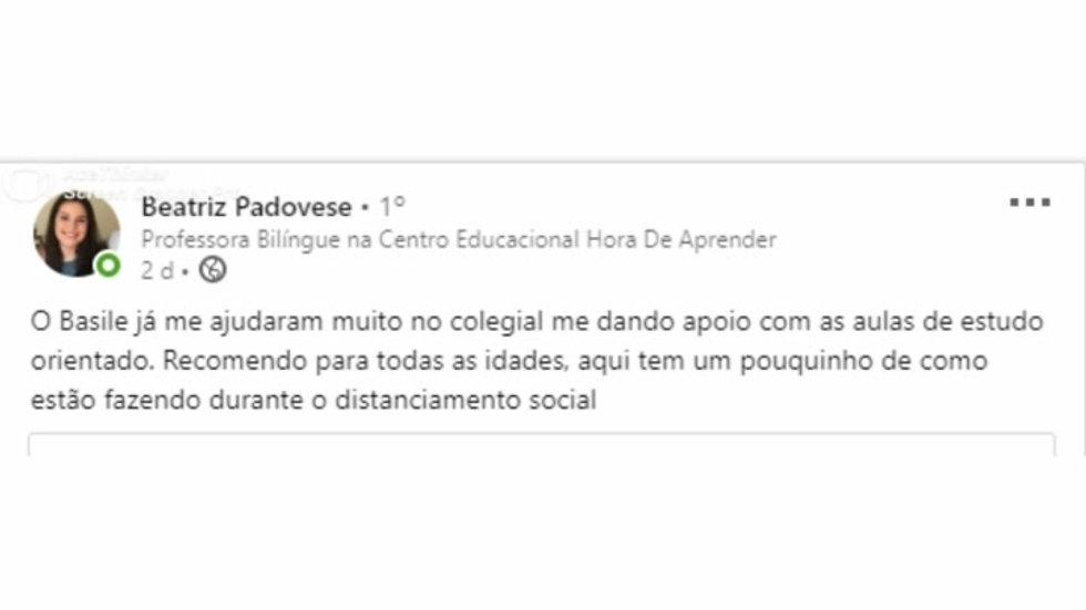 Depoimento de nossa aluna Beatriz Padovese sobre a Basile Estudo orientao - Aulas Particulares