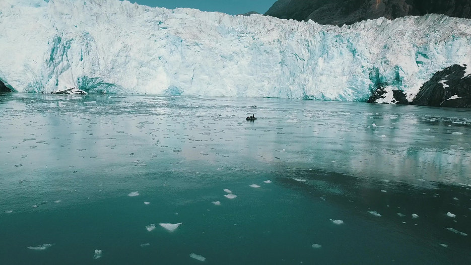 Flyover in front of Glacier