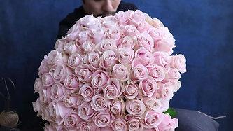 100本のバラの花束(ピンク)制作風景動画