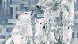Polar Bears, by Hannah Shergold, oil on canvas, 100 x 100 cm