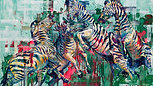 Zebras at War, by Hannah Shergold, oil on canvas, 150 x 100 cm