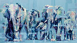 Elephant March, by Hannah Shergold, oil on canvas, 150 x 75 cm