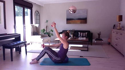 Power Pilates - 60 mins - Tools. 0.5 kg weights & soft overball