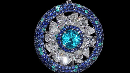 Brazilian Paraiba Earrings accented  with Paraibas, Sapphires and Diamonds