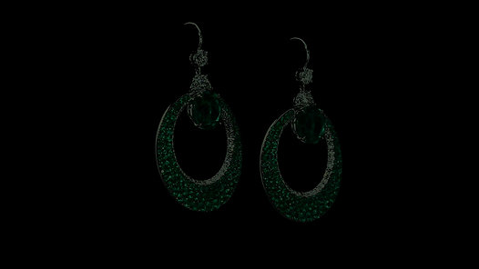 Circle Motif Emerald and Diamond Earrings