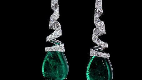 Emerald and Diamond Ribbon Earrings
