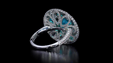Brazilian Paraiba Parasol Ring Accented with Diamonds and Sapphires
