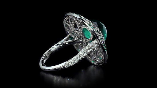Cabochon Emerald and Diamond Parasol Ring
