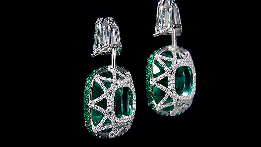 Cushion Emerald Earrings set with Kite Shaped Diamonds and accented with Emeralds