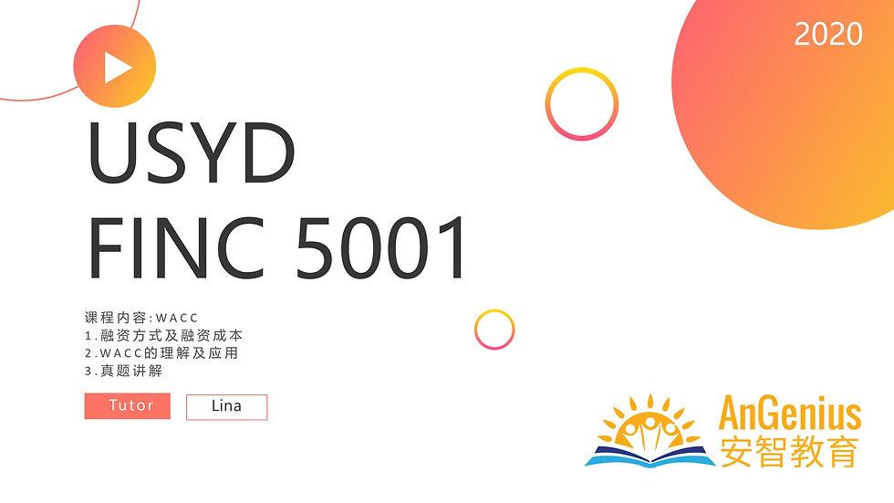 FINC5001 WACC-期末复习