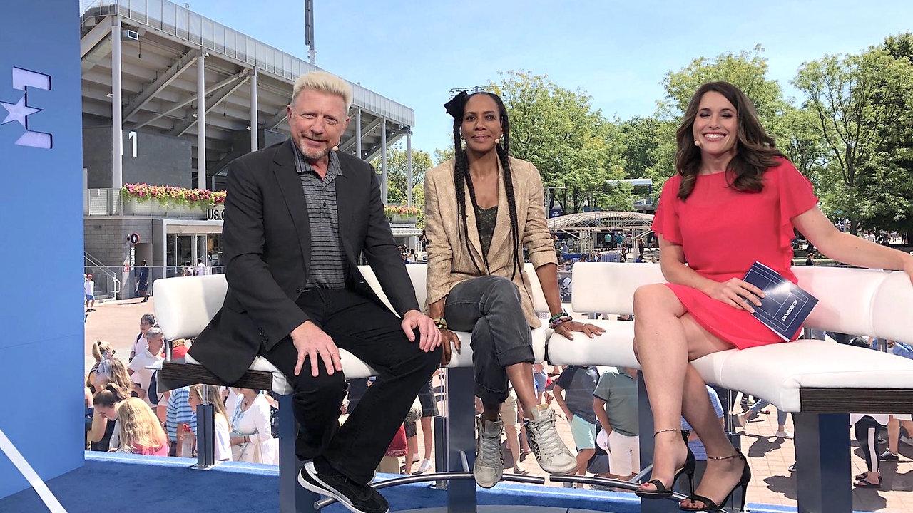 Birgit Nössing talkt mit Barbara und Boris Becker