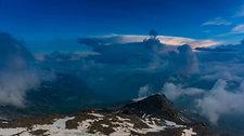 Clouds in Alpine mountain hut