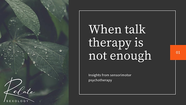 When talk therapy is not enough