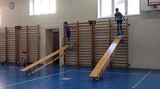 3./4. - wagnis - sprossenwand/bank - skifahren ball jonglieren