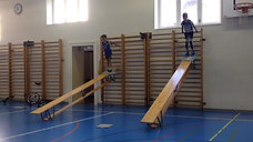 3./4. - körperspannung - sprossenwand/bank - skifahren ball jonglieren