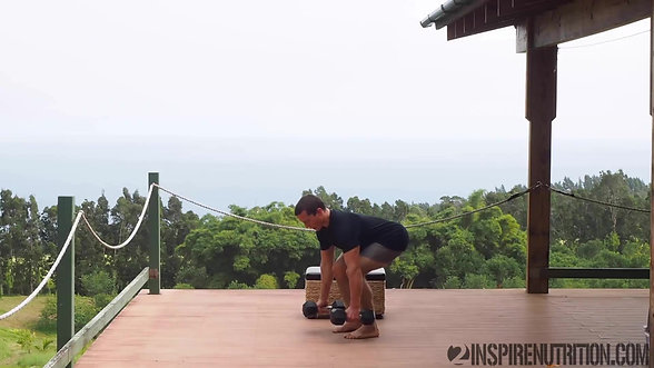 Standing DB Bent Over Row