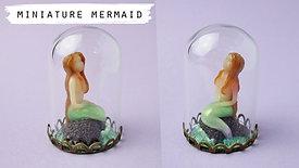 Miniature Mermaid Sculpture In a Glass Dome