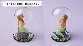 Miniature Mermaid Sculpture In a Glass Dome