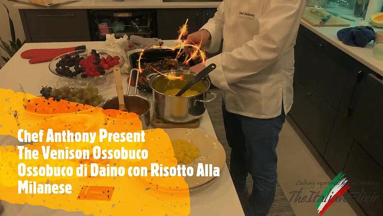 Venison Osso Buco with saffron and artichok risotto.