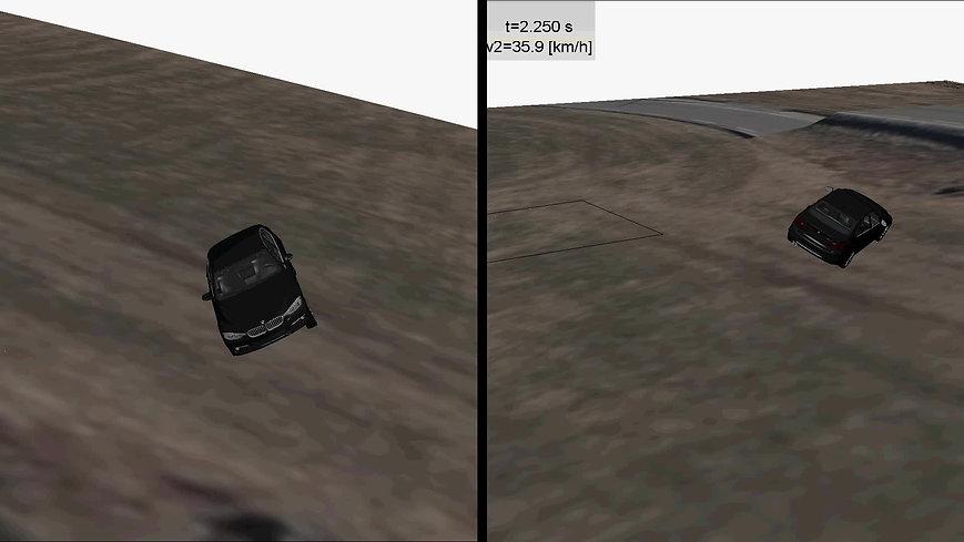 BMW som ruller ut på jorde