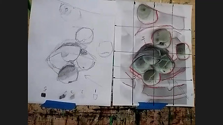 Still life with apricots - beginning drawing
