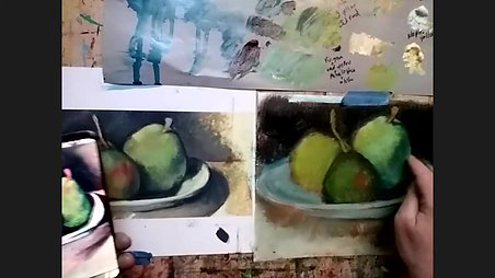 Cezanne Pears in Oil - part 2 - Sunday Oil Acrylic Painting Studio
