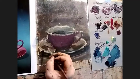 Painting a coffee cup and saucer in acrylic - Sunday Art