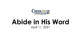 Abide in HIs Word