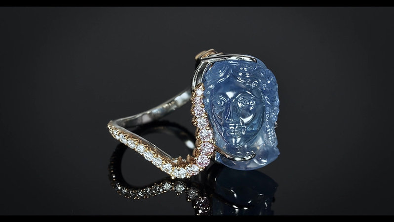 Important Carved Sapphire and Pink Diamond Ring