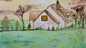sunset home in watercolours