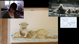 painting otters in watercolour